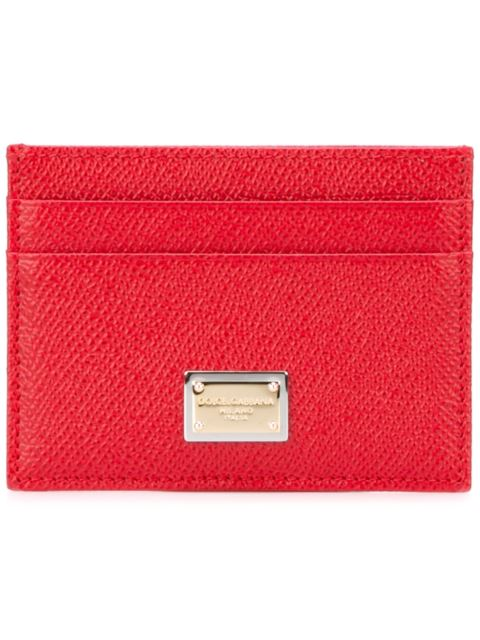 Dolce & Gabbana Dauphine Leather Card Holder, Coral