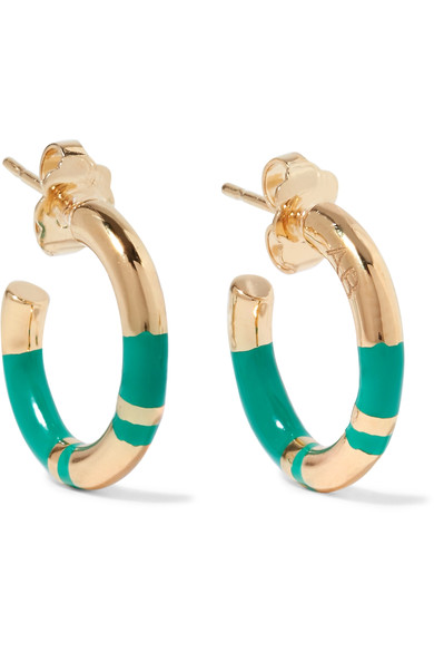 AURELIE BIDERMANN Positano Striped & 18K Yellow Goldplatd Hoop Earrings in Green