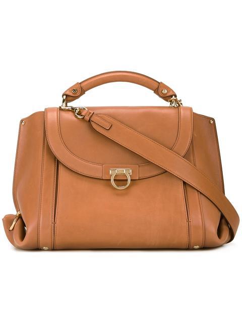 Medium Leather Satchel - Brown, Sella