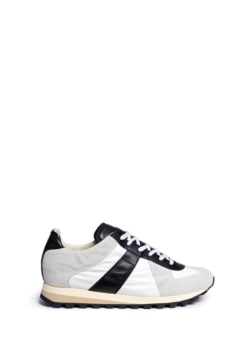 MAISON MARGIELA 'Retro Runner' Mixed Media Sneakers in White