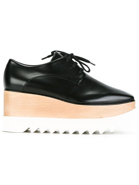 Elyse Faux Glossed-Leather Platform Brogues in Black
