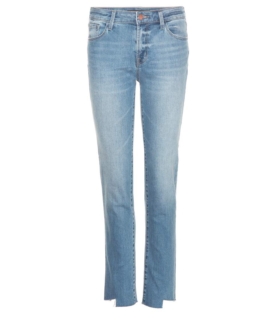 Mid-Rise Straight-Leg Jeans in Blue