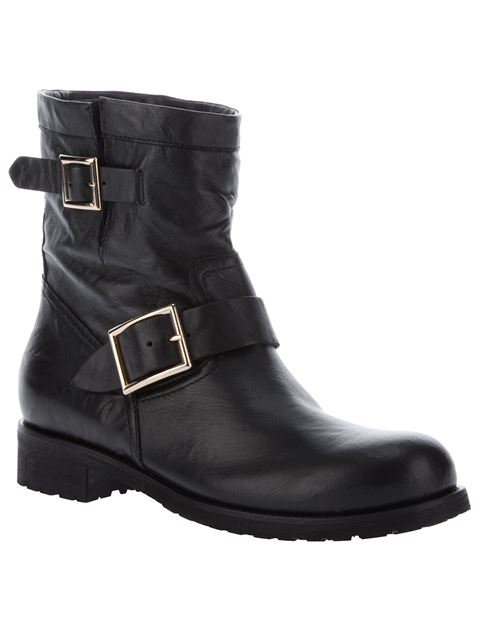Youth - Lined Black Biker Leather Biker Boots With Rabbit Fur