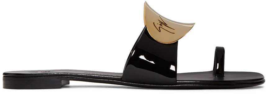 Giuseppe Zanotti Black Patent Nuvorock Sandals E0wyRYXZV4