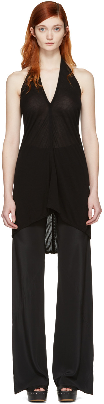 RICK OWENS Draped Halter Top in Black