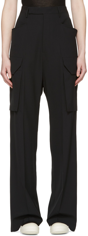 Tailored Wide Leg Cargo Trousers, Nero