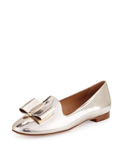 SALVATORE FERRAGAMO Elisabella Metallic Leather Loafer, Gold, Butter/Oro