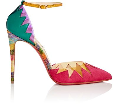 CHRISTIAN LOUBOUTIN Chapito Ho 100 Pvc-Trimmed Suede And Leather Pumps in Version Rosa