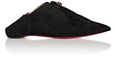 Medinana Fringed Suede Collapsible-Heel Slippers in Black/Black