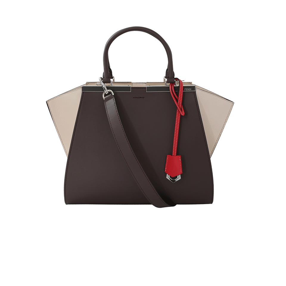 3Jours Colorblock Calfskin Leather Shopper - Brown in Grey