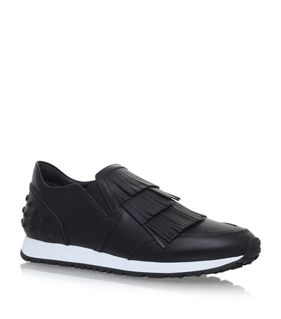 TOD'S 20Mm Fringed Leather Slip-On Sneakers, Black