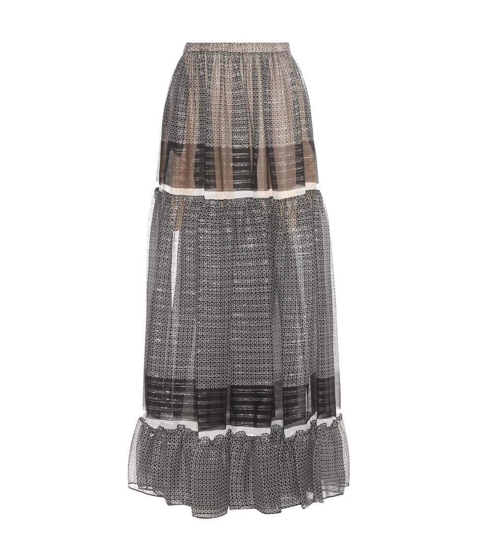 Elsa Silk-Blend Skirt in Black