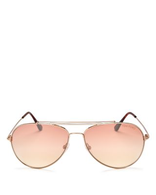 TOM FORD Metal Aviator Sunglasses, No Color in Gold/Pink Mirror