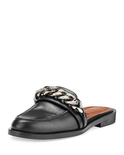 GIVENCHY Chain Croc-Embossed Leather Loafer Slides in Bottle Green