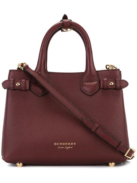"""The Banner"" Small Tote Bag In Burgundy Leather in Red"