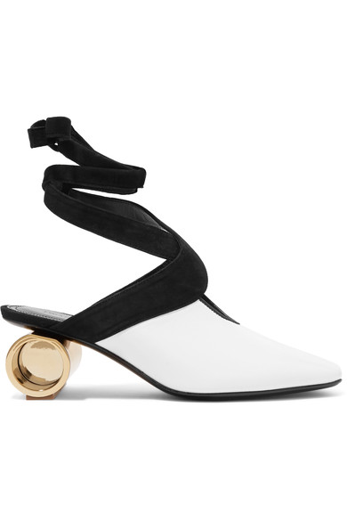 Jw Anderson - Cylinder Heel Leather Mules - Womens - White, White And Black