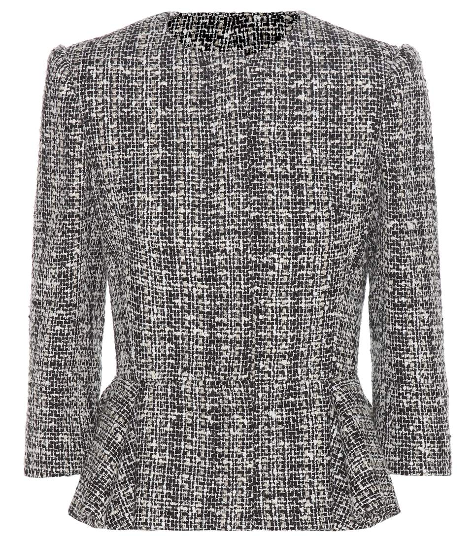 ALEXANDER MCQUEEN Knitted Cotton And Wool-Blend Jacket in Llack