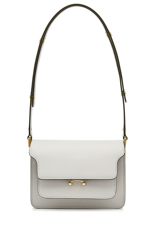Trunk Leather Shoulder Bag, White