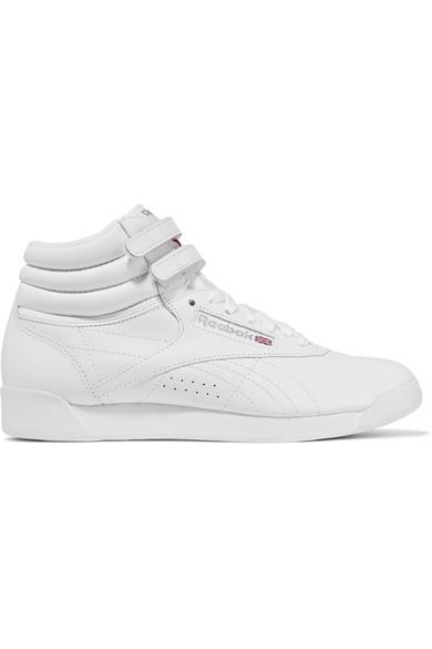 Women'S Freestyle Leather High Top Sneakers, White/ Silver