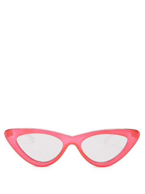 LE SPECS + Adam Selman The Last Lolita Cat-Eye Acetate Mirrored Sunglasses, Red