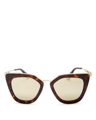 PRADA Mirrored Cat Eye Sunglasses, 52Mm in Tortoise/Gold Mirror