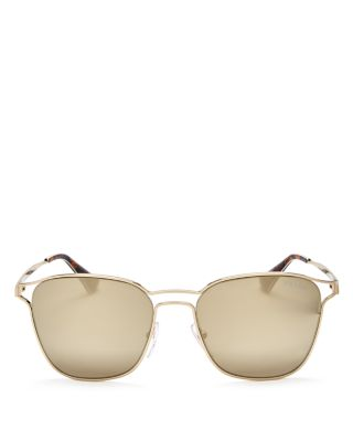 PRADA Mirrored Square Sunglasses, 56Mm in Pale Gold/Gold Mirror
