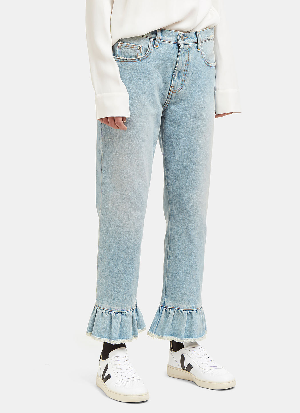 MSGM Distressed Ruffle-Trimmed High-Rise Straight-Leg Jeans in Lightblue