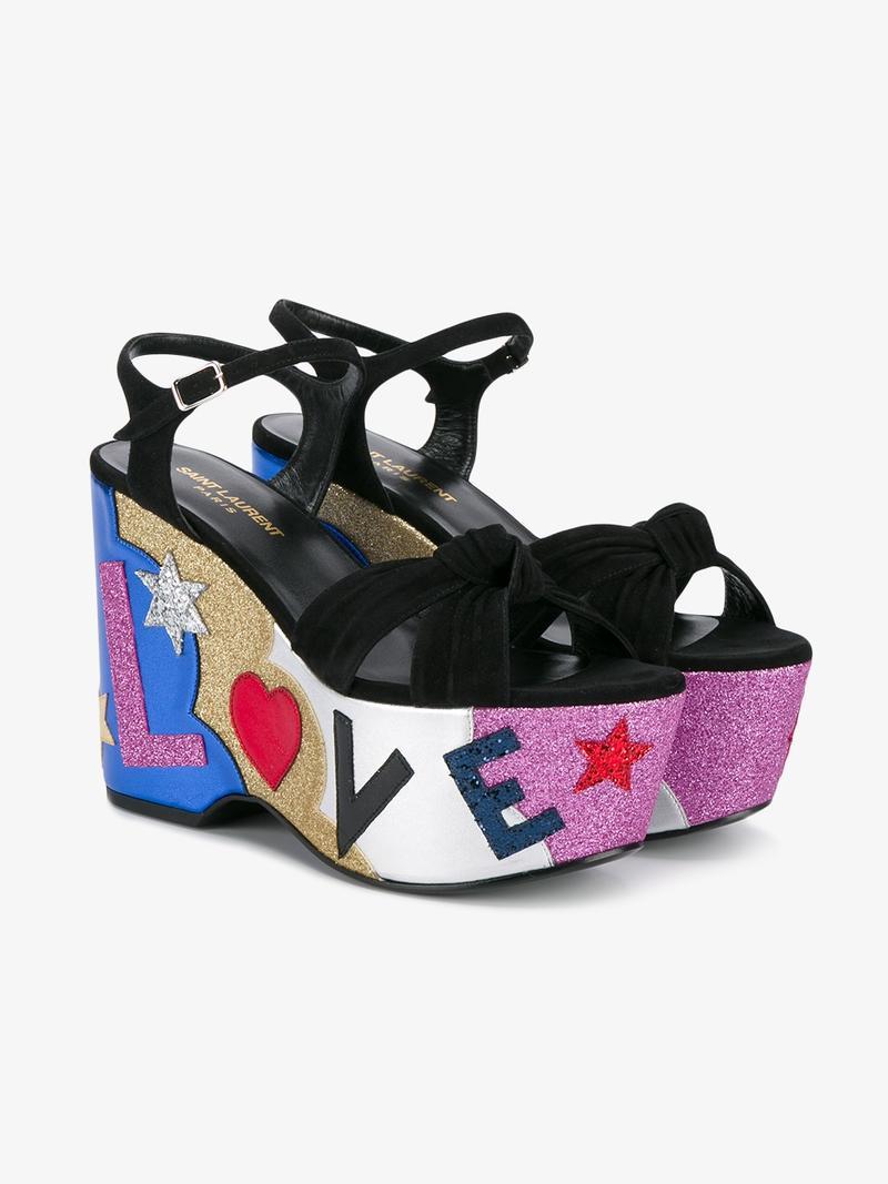 Saint Laurent Candy 50 Love Sandals - Black