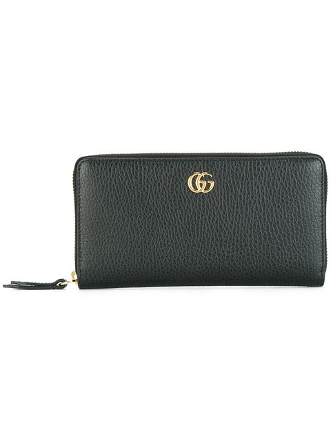 Leather Zip Around Wallet in Black