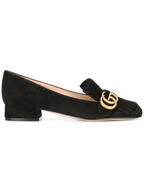 Marmont Fringed Logo-Embellished Suede Loafers in Black