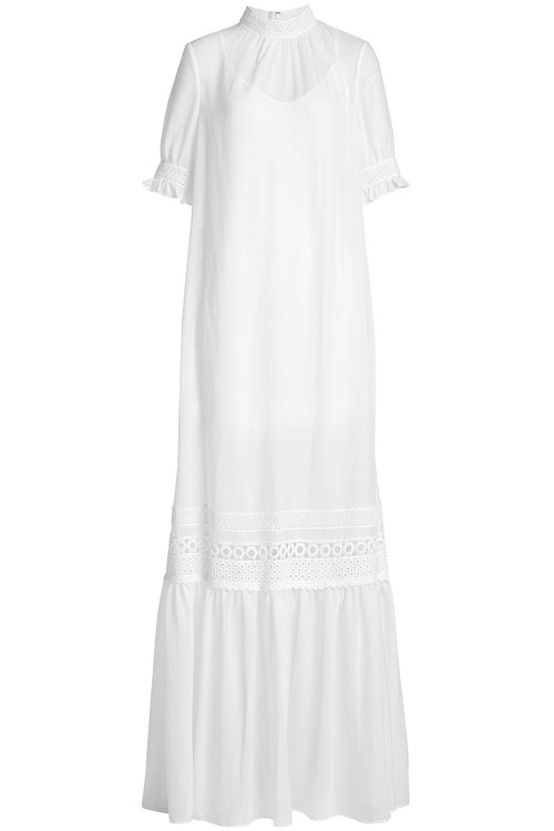MCQ BY ALEXANDER MCQUEEN Guipure Lace-Trimmed Gauze Maxi Dress, White