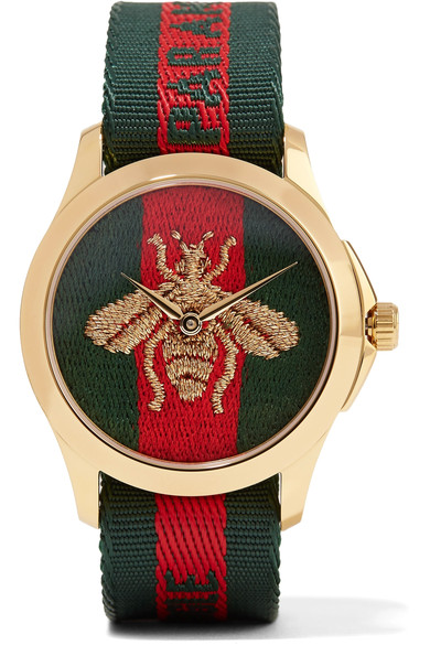 Le Marché Des Merveilles 38Mm Striped Fabric Watch, Green/Red