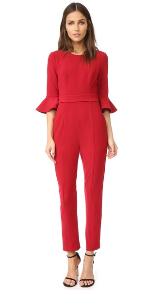 BLACK HALO Brooklyn Flared-Sleeve Jumpsuit in Red
