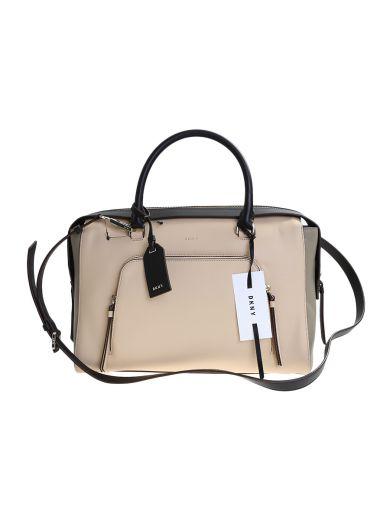 DKNY Beige Leather Greenwich Large Bag in Multi