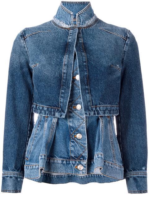 Denim Trompe L'Oeil Peplum Jacket, Middle Denim in Blue