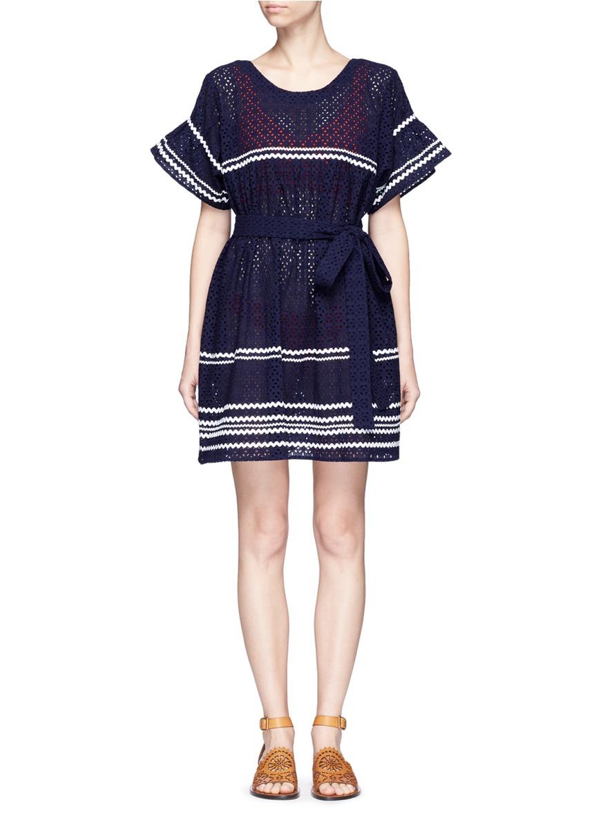 LISA MARIE FERNANDEZ 'Fiesta' Zigzag Stripe Eyelet Cotton Lace Dress in Eavy Eyelet With White Ric Rac