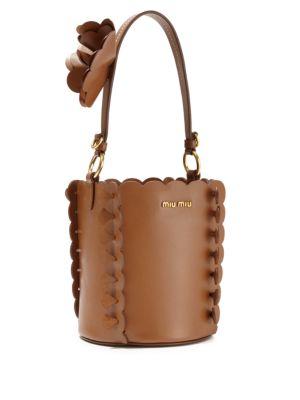 MIU MIU Scalloped Leather Bucket Bag in Brandy