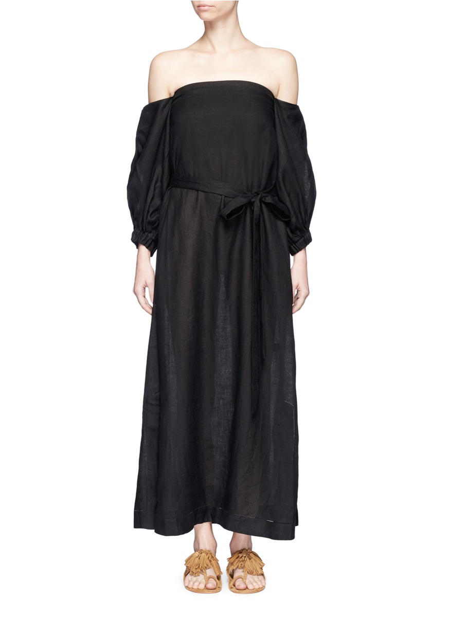 LISA MARIE FERNANDEZ Balloon-Sleeve Off-The-Shoulder Linen Dress in Black