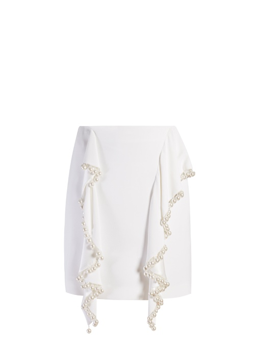 GIVENCHY Floral-Embroidery Stretch-Crepe Skirt in White