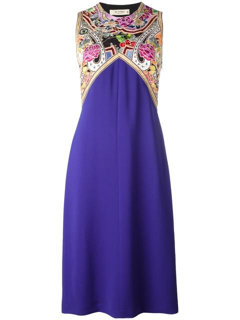 ETRO - Embroidered Trim Dress in Pink/Purple