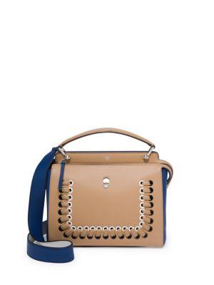 Dotcom Medium Colorblock Whipstitch Satchel Bag, Brown/Blue
