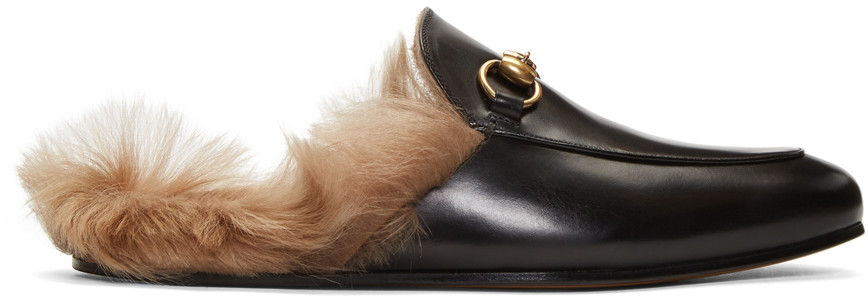 Princetown Horsebit Shearling-Lined Leather Backless Loafers in Black