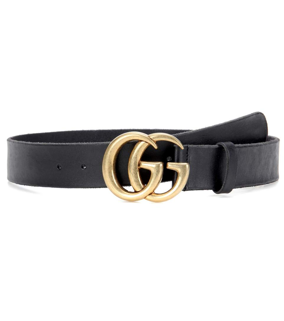 Leather Belt With Double G Buckle, Black