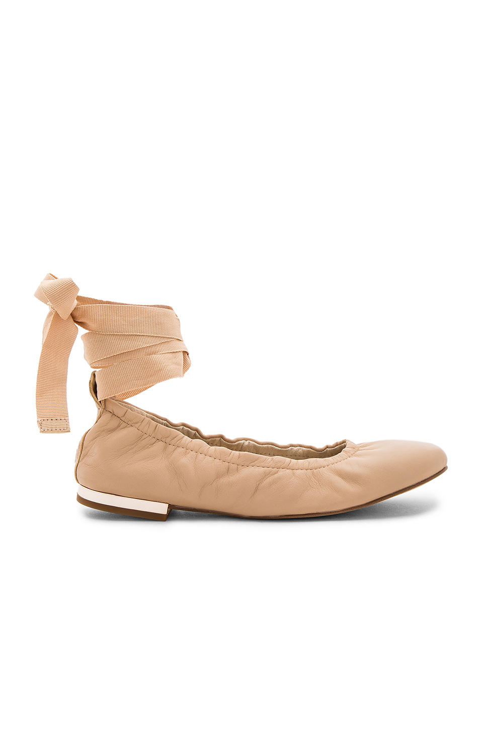 SAM EDELMAN Fallon Lace Up Ballet Flats in Nude Linen