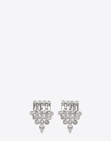 SAINT LAURENT SMOKING EARRINGS IN SILVER BRASS AND CLEAR CRYSTAL