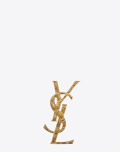 Opyum Ysl Crocodile Brooch In Gold Brass
