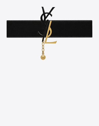 Black & Gold Velvet Deconstructed Monogram Choker in Silver
