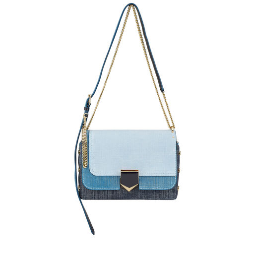 JIMMY CHOO Lockett City Light Indigo Mix Denim Leather Patchwork Shoulder Bag