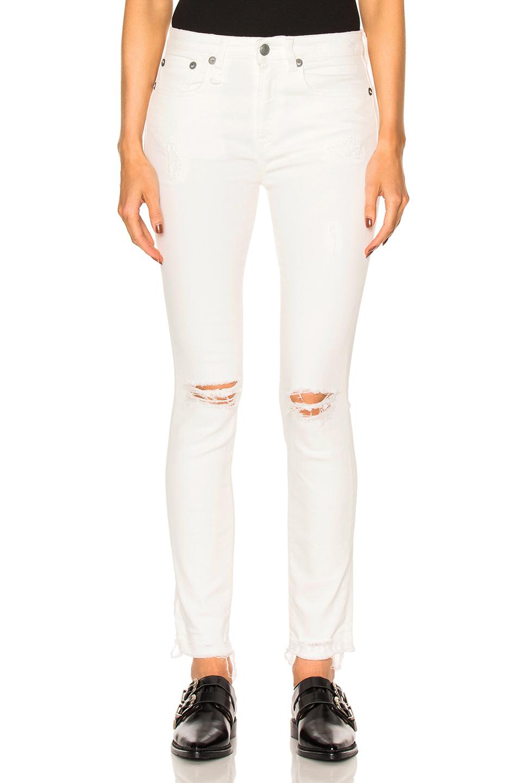 R13 Jenny Mid Rise Skinny In White. in Warren White