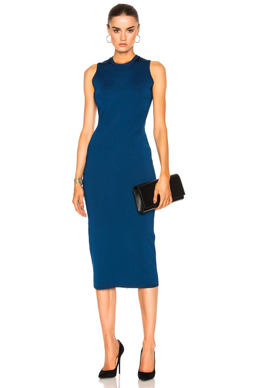 VICTORIA BECKHAM Compact Knit Dress in Lapis Blue